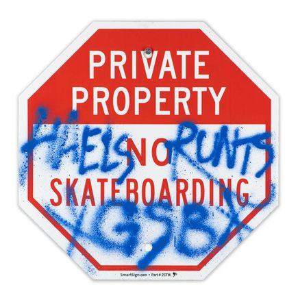 Hael Original Art - Private Property No Skateboarding Sign - V - 12 x 12 Inches