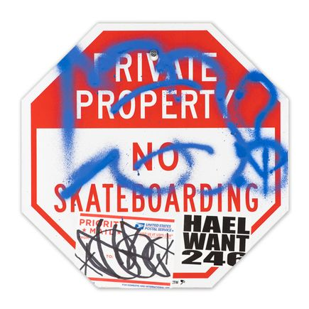 Hael Original Art - Private Property No Skateboarding Sign - VI - 12 x 12 Inches