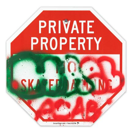 Hael Original Art - Private Property No Skateboarding Sign - VII - 12 x 12 Inches