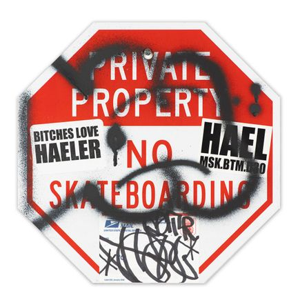 Hael Original Art - Private Property No Skateboarding Sign - VIII - 12 x 12 Inches