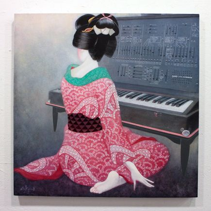Ron Zakrin Original Art - Beauty With Synthesizer Original Painting