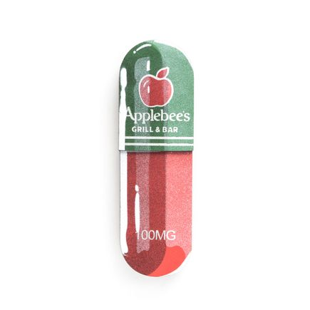 Denial Original Art - Micro-Dose - Applebee's - 3 x 10 Inch Pill