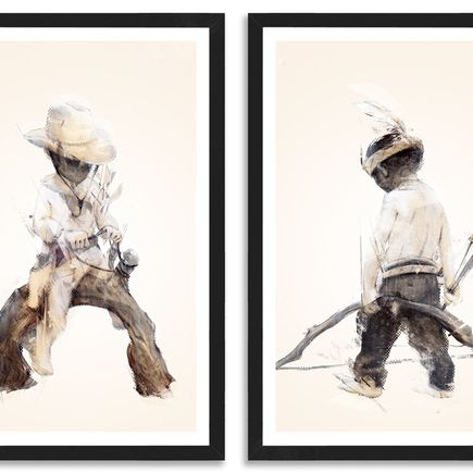Taylor White Art Print - Cowboys & Indians - 2 Print Set