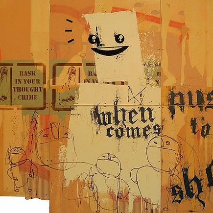 Bask Original Art - When Push Comes To Shove