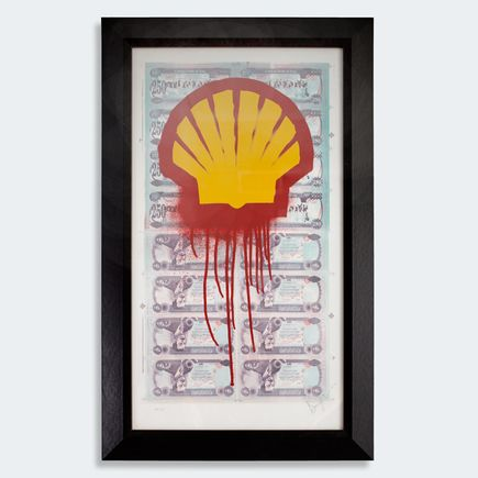 Beejoir Art - Shell Blood For Oil - Framed