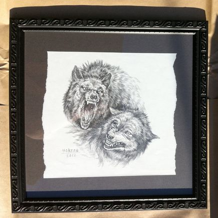 Ben Horton Original Art - The Hunter & The Hunted Framed Sketch