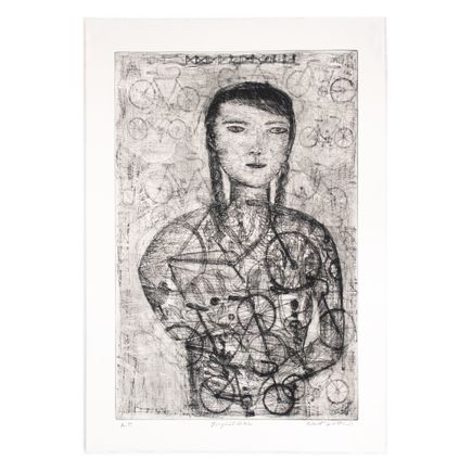 Robert Sestok Art Print - Bicycle Girl (Black) - Artist Proof - 2011