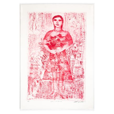 Robert Sestok Art Print - Girl With Birds (Red) - Artist Proof - 2017
