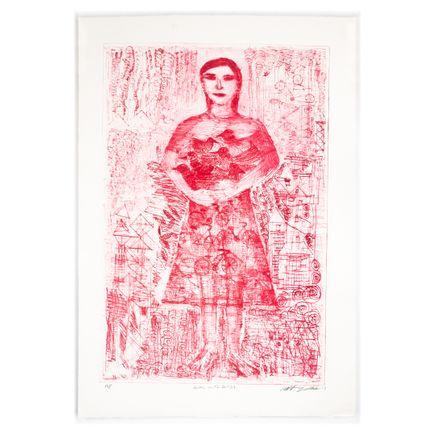 Robert Sestok Art Print - Girl With Birds (Red) - Artist Proof - 2017