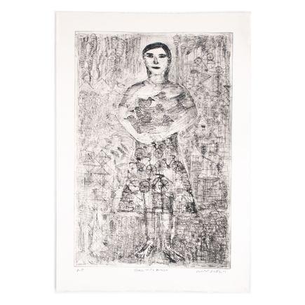 Robert Sestok Art Print - Girl With Birds (Black) - Artist Proof II - 2011
