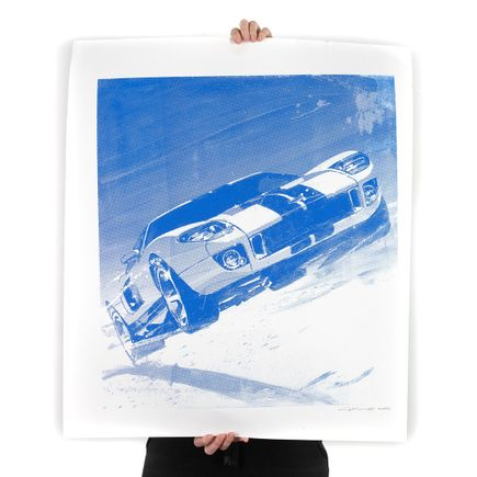 Camilo Pardo Art Print - Blue Ford GT - Damaged - Sold As Is