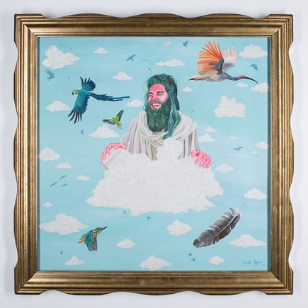 Celeste Byers Original Art - Jesus On Cloud 9