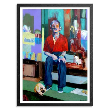 China Mike Original Art - Old Man With Cats - Original Artwork