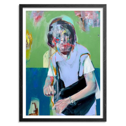 China Mike Original Art - Portrait of an Elderly Woman (Green) - Original Artwork