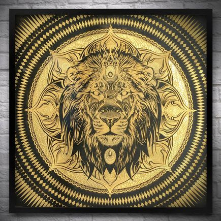 Chris Saunders Original Art - Lion Mandala II