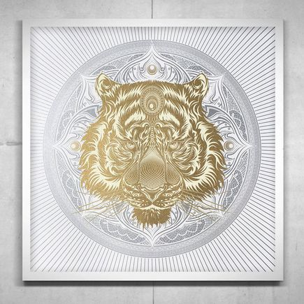 Chris Saunders Art Print - White Tiger Mandala