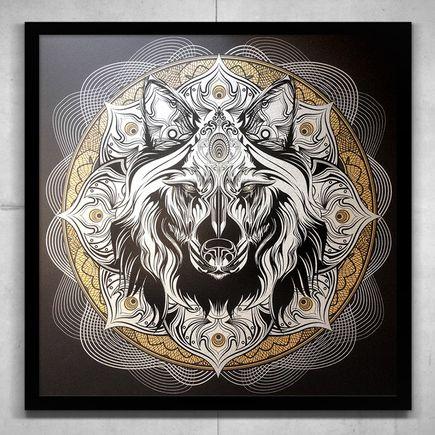 Chris Saunders Art Print - Wolf Mandala