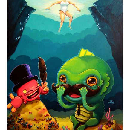 David Chung Art Print - Finger-Crab Helps Gillman Try On Mustaches For His Big Date