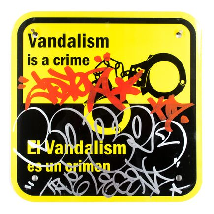 Cope2 Original Art - Vandalism Is A Crime - 12 x 12 Inches - II