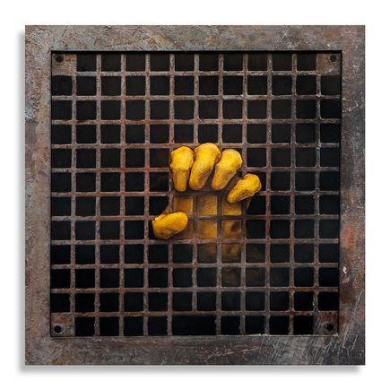 Dan Witz Original Art - One Glove (Sq Grate)