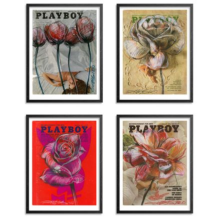 Derek Hess Art Print - Playboy Flowers - 4-Print Set