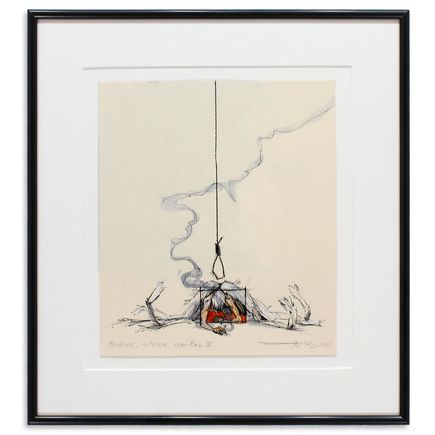 Derek Hess Original Art - Thinking Outside the Box II