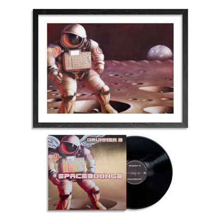 Drummer B & Ron Zakrin Art - Spacebounce - Hand-Embellished Record + Limited Edition Print