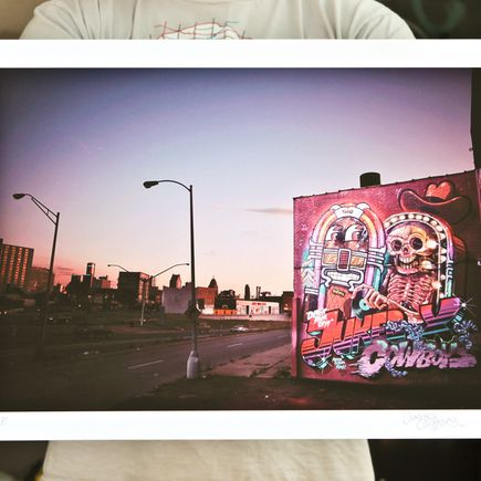 Flying Fortress Art Print - Detroit Rock City Skyline