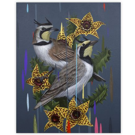 Frank Gonzales Original Art - Horned Larks and Huernia Zebrina