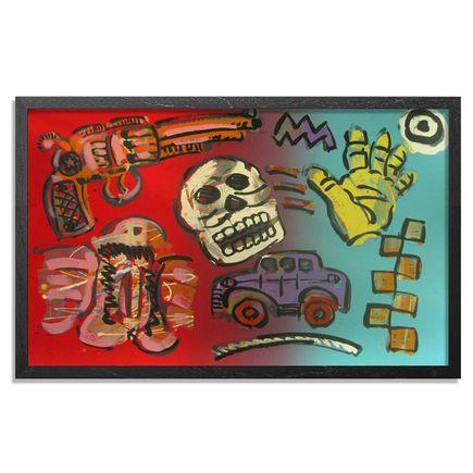 Frank Romero Art Print - Untitled (Skull & Gun)