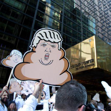 Hanksy Art - Dump Trump Protester Sign