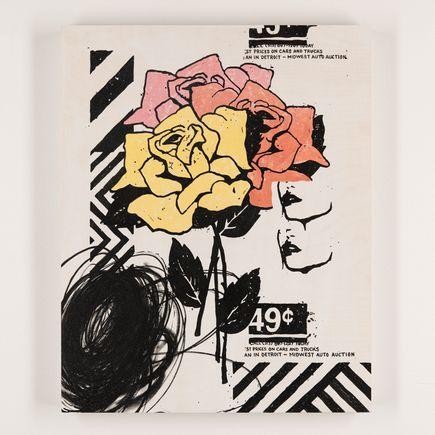 Jeremiah Britton Art - Three Roses At The Auto Auction - Original Artwork