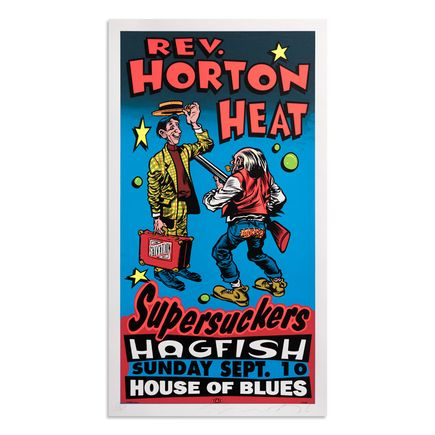 Jim Evans / Taz Art Print - Reverend Horton Heat - House of Blues - Los Angeles, CA - 1995