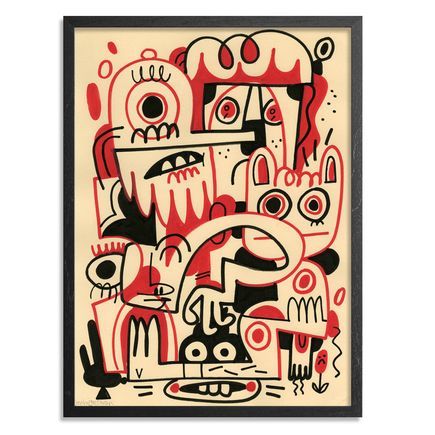 Jon Burgerman Original Art - Black and Red 1 - Original Artwork