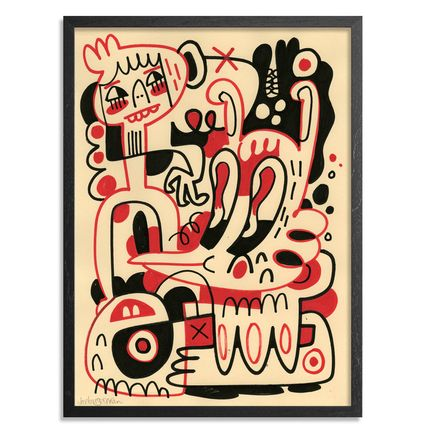 Jon Burgerman Original Art - Black and Red 2 - Original Artwork
