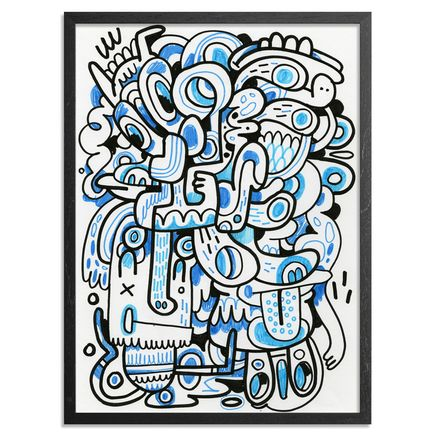 Jon Burgerman Original Art - Blue Compostion - Original Artwork