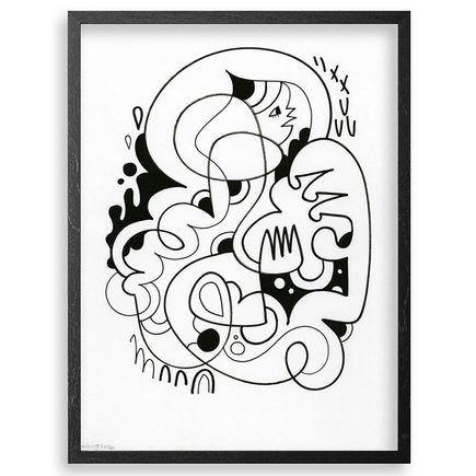 Jon Burgerman Original Art - Girl Curl - Original Artwork