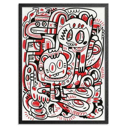 Jon Burgerman Original Art - Red Compostion - Original Artwork
