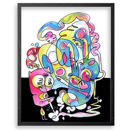 Jon Burgerman Original Art - Smoking Up A Storm - Original Artwork