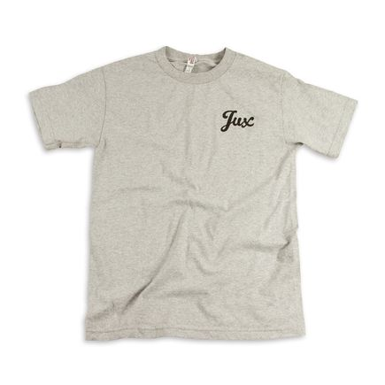 1xRUN Editions Art - XSmall - Jux Script Logo T-Shirt - Black on Grey