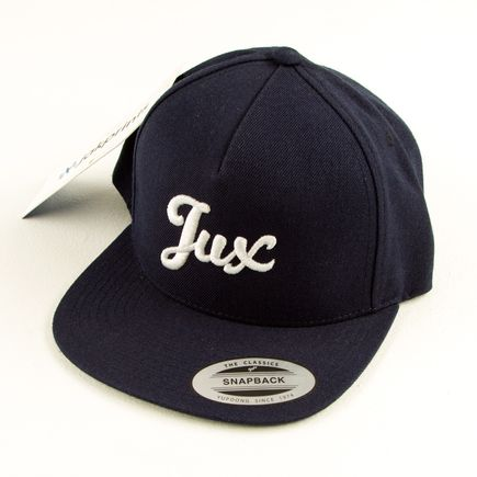 1xRUN Editions Art - Jux Script Logo - Dark Blue Snapback Hat