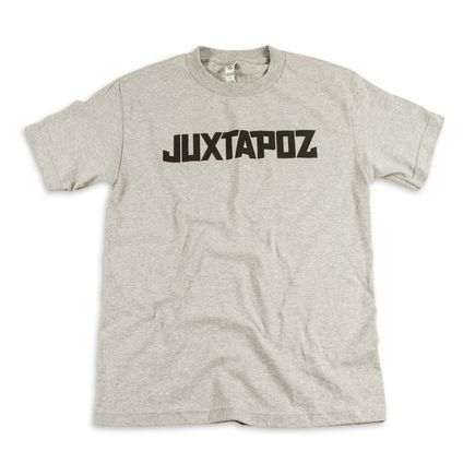 1xRUN Editions Art - XSmall - Juxtapoz Logo T-Shirt - Black on Grey
