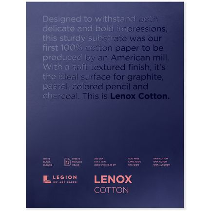 Legion Paper Book - 9x12 Lenox Cotton Paper Pad