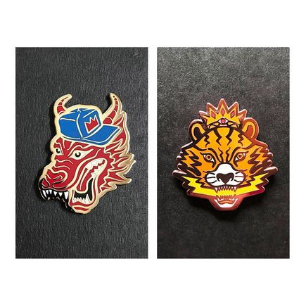 Mark Sarmel Art - Artist Pins - King Dragon + El Ojo de Tigre