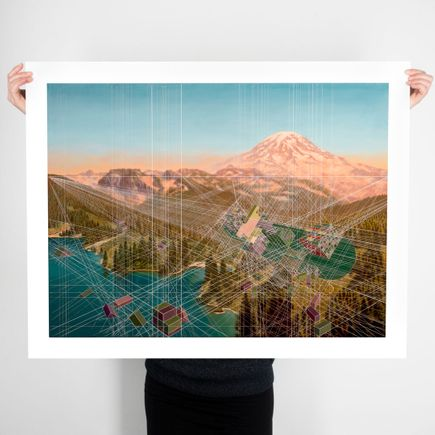 Mary Iverson Art Print - Smoke Rolling In, Mount Rainier National Park - Hand-Embellished Edition