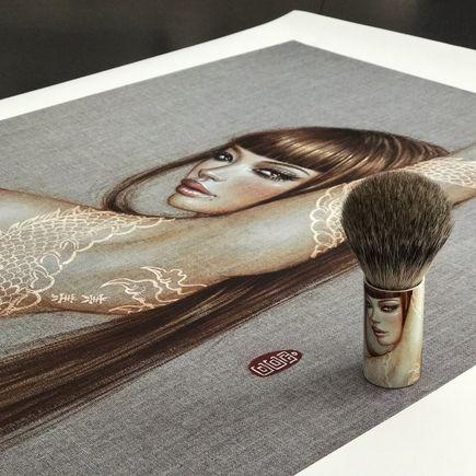 Mimi Yoon Art Print - Coy - Print + Shaving Brush Combo