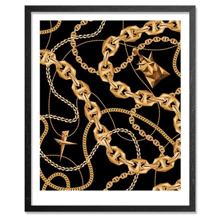 Naturel Art Print - Black Gold Chains - Framed