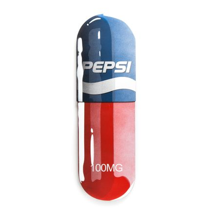 Denial Original Art - Overdose - Pepsi - 10 x 32 Inch Pill