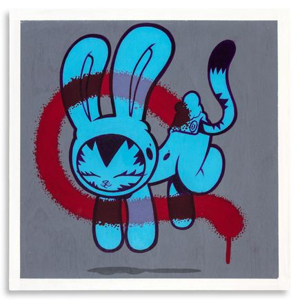 Persue Original Art - Bunny Kitty - Blue - Original Artwork
