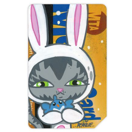 Bunny Kitty Art - MTA Card 1 - Hand-Painted Multiple